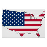 Usa Map, United States flag Poster