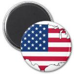 Usa Map, United States flag Refrigerator Magnet