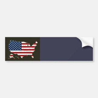 USA map with american flag Bumper Sticker