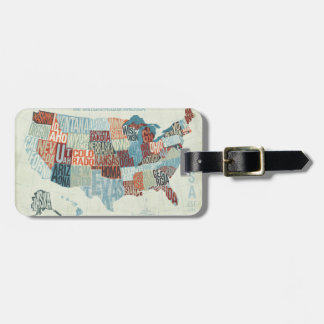 USA Map with States in Words Luggage Tag