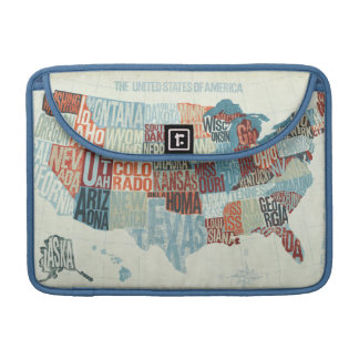 USA Map with States in Words Sleeves For MacBooks