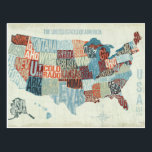 "USA Map with States in Words Postcard<br><div class=""desc"">&#169; Michael Mullan / Wild Apple.  The image shows a map of the United States with the states written out in a modern way. Every state is written in such a way that it fits in the map.</div>"