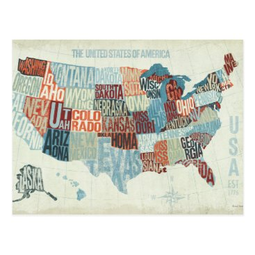 USA Themed USA Map with States in Words Postcard