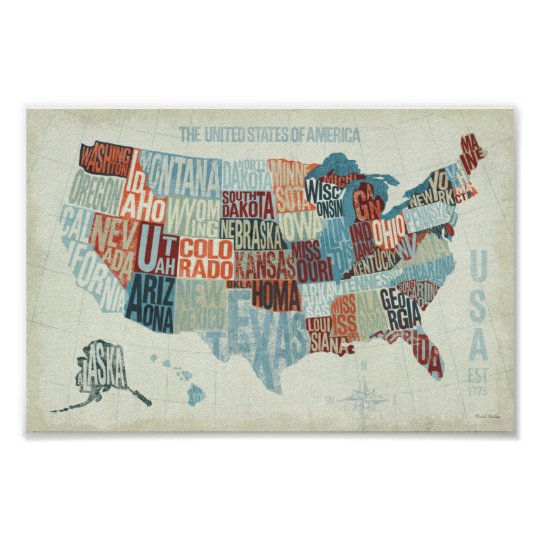Poster Of Usa Map.Usa Map With States In Words Poster Zazzle Com