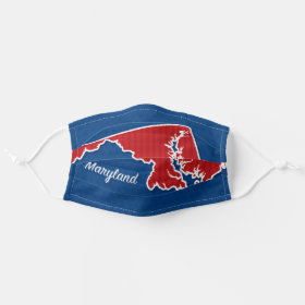 USA Maryland State Stars and Stripes Map Cloth Face Mask