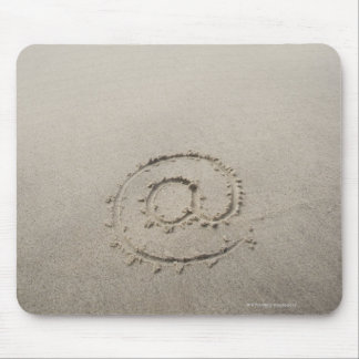 USA, Massachusetts, At sign drawn on sandy beach Mouse Pad
