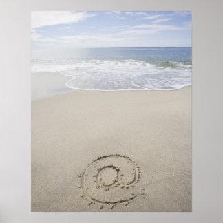 USA Massachusetts At sign drawn on sandy beach Poster