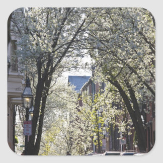 USA, Massachusetts, Boston, Beacon Hill. Square Sticker