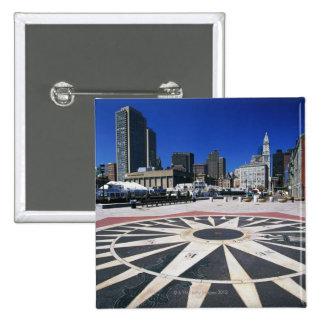 USA, Massachusetts, Boston, Boston harbour 2 Inch Square Button