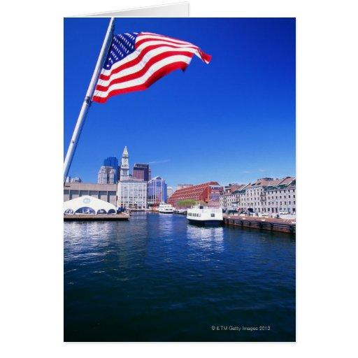 USA, Massachusetts, Boston, Boston harbour, Greeting Card