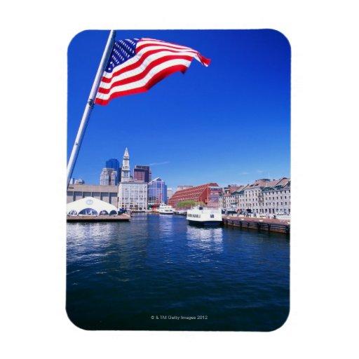 USA, Massachusetts, Boston, Boston harbour, Rectangular Photo Magnet