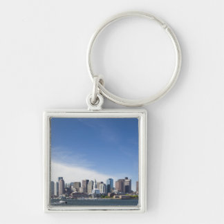USA, Massachusetts, Boston, City skyline and Silver-Colored Square Keychain