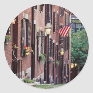 USA, Massachusetts, Boston, Houses Along Acorn Classic Round Sticker