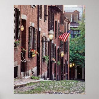 USA, Massachusetts, Boston, Houses Along Acorn Poster