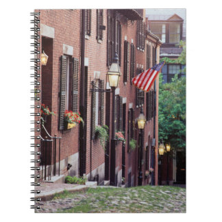 USA, Massachusetts, Boston, Houses Along Acorn Spiral Notebook