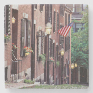 USA, Massachusetts, Boston, Houses Along Acorn Stone Coaster