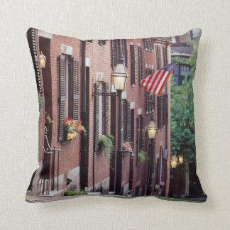 USA, Massachusetts, Boston, Houses Along Acorn Throw Pillow