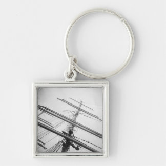 USA, Massachusetts, Boston. Masts of tall ship. Keychain