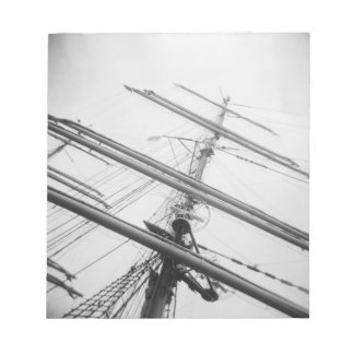 USA, Massachusetts, Boston. Masts of tall ship. Notepad