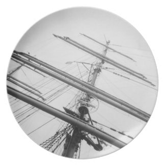 USA, Massachusetts, Boston. Masts of tall ship. Plate