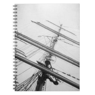 USA, Massachusetts, Boston. Masts of tall ship. Spiral Notebook