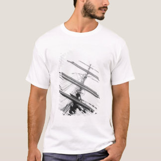 USA, Massachusetts, Boston. Masts of tall ship. T-Shirt
