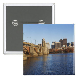 USA, Massachusetts, Boston skyline 2 2 Inch Square Button