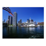 USA, Massachusetts, Boston skyline and Financial Post Card