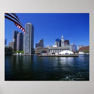 USA, Massachusetts, Boston skyline and Financial Print