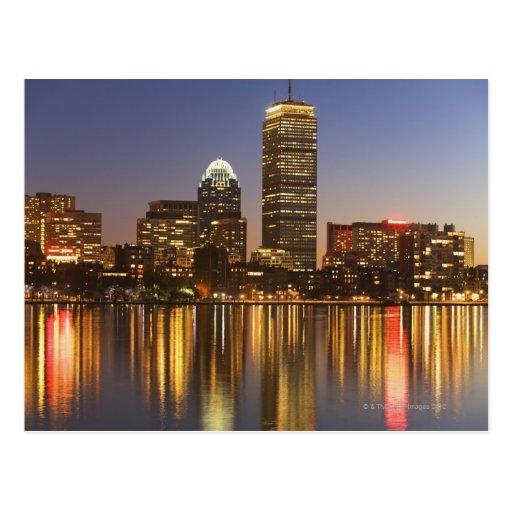 USA, Massachusetts, Boston skyline at dusk 2 Post Cards