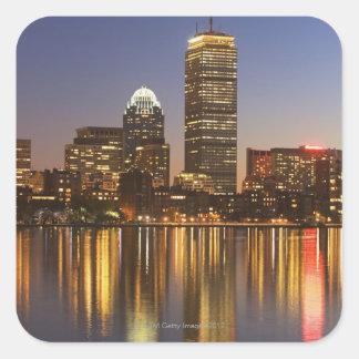 USA, Massachusetts, Boston skyline at dusk 2 Square Sticker