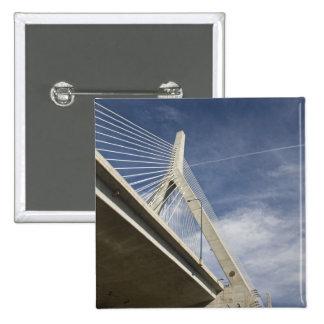 USA, Massachusetts, Boston. The Zakim Bridge. 2 Inch Square Button