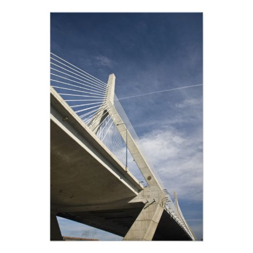 USA, Massachusetts, Boston. The Zakim Bridge. Photographic Print