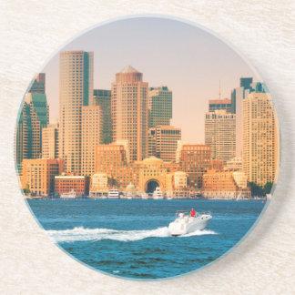 USA, Massachusetts. Boston Waterfront Panorama Drink Coaster