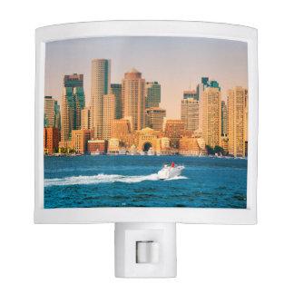 USA, Massachusetts. Boston Waterfront Panorama Nite Light
