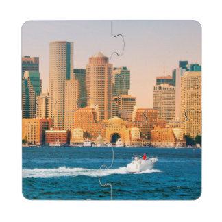USA, Massachusetts. Boston Waterfront Panorama Puzzle Coaster