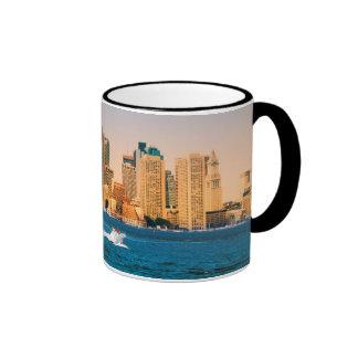 USA, Massachusetts. Boston Waterfront Panorama Ringer Mug