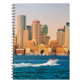 USA, Massachusetts. Boston Waterfront Panorama Spiral Notebook