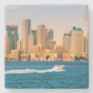 USA, Massachusetts. Boston Waterfront Panorama Stone Coaster