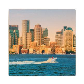 USA, Massachusetts. Boston Waterfront Panorama Wood Coaster