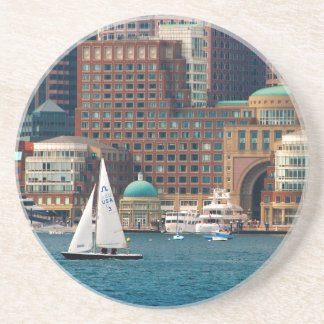 USA, Massachusetts. Boston Waterfront Skyline 2 Beverage Coasters