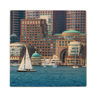 USA, Massachusetts. Boston Waterfront Skyline 2 Wood Coaster