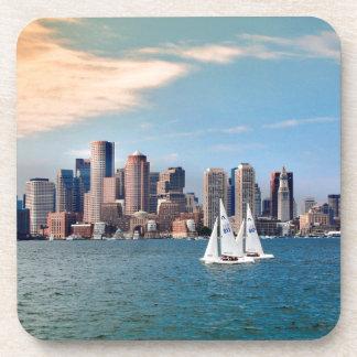 USA, Massachusetts. Boston Waterfront Skyline 3 Drink Coaster