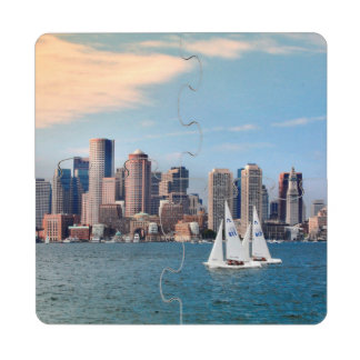 USA, Massachusetts. Boston Waterfront Skyline 3 Puzzle Coaster