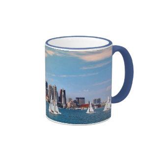 USA, Massachusetts. Boston Waterfront Skyline 3 Ringer Mug