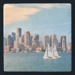 "USA, Massachusetts. Boston Waterfront Skyline 3 Stone Coaster<br><div class=""desc"">Anna Miller / DanitaDelimont.com USA,  North America,  Massachusetts</div>"