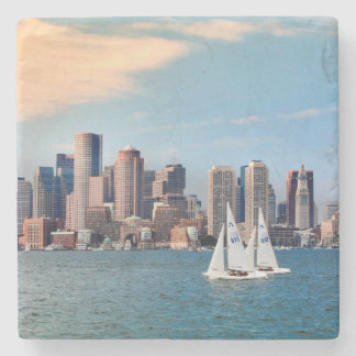 USA, Massachusetts. Boston Waterfront Skyline 3 Stone Coaster