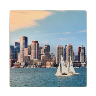 USA, Massachusetts. Boston Waterfront Skyline 3 Wood Coaster