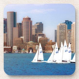 USA, Massachusetts. Boston Waterfront Skyline 4 Drink Coasters