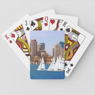 USA, Massachusetts. Boston Waterfront Skyline 4 Playing Cards